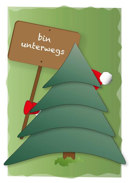 Grafikdesign als Vektorgrafik gestaltet mit Weihnachtsmann und Schild, Weihnachtskarte freebie