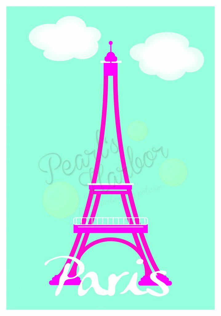 Gemalter Eiffelturm kindgerecht auf Pearl's Harbor Blog