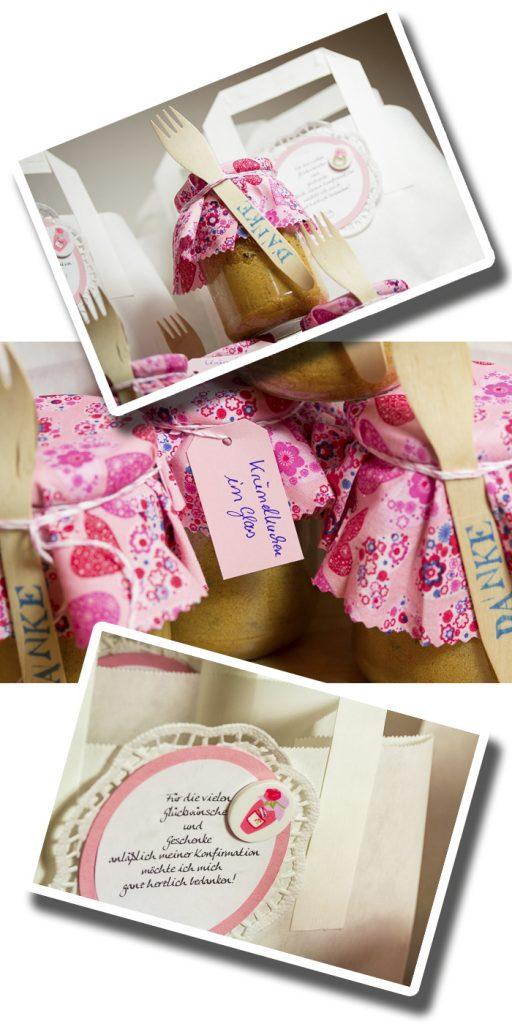 Ein Mitgebsel oder wie man sich für Geschenke bedankt: Mit einem Kuchen im Glas. Knöpfe von Tante Ema Design / Unionkopf