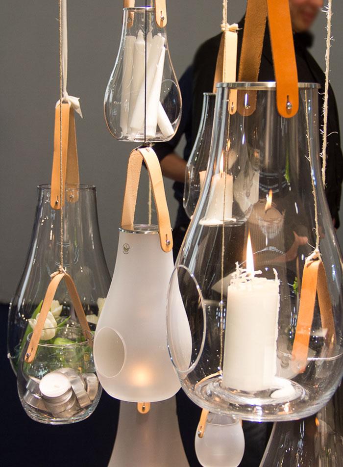 Mundgeblasene Windlichter, Handarbeit aus Glas, Leder und Edelstahl auf Pearl's Harbor Blog