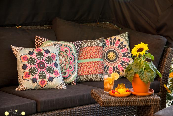 Kissen mit mexikanischem Muster selbstgenäht. Kissen mit Reißverschluss