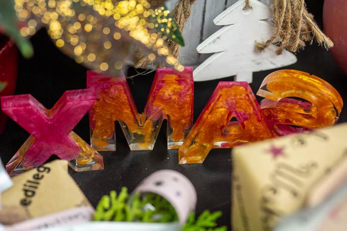 Weihnachten Buchstaben aus Gießharz