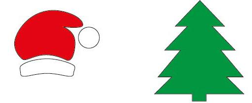 Vorlage Tannenbaum und Weihnachtsmannmütze