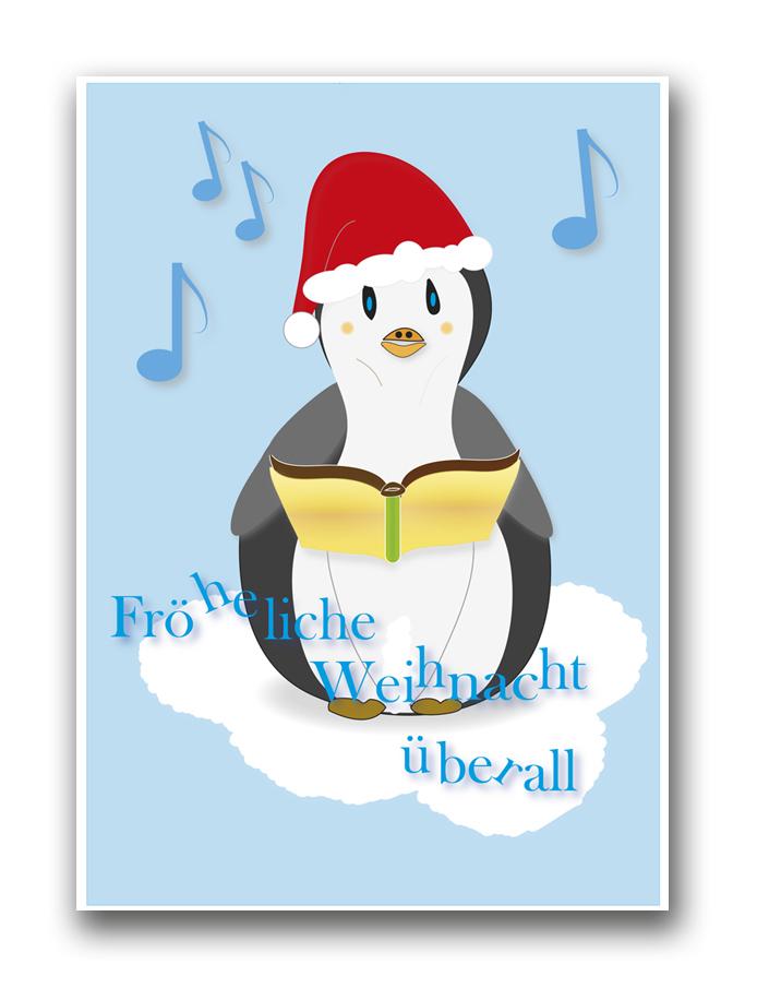 Fröheliche Weihnacht überall / Postkarte zum Selbstausdrucken