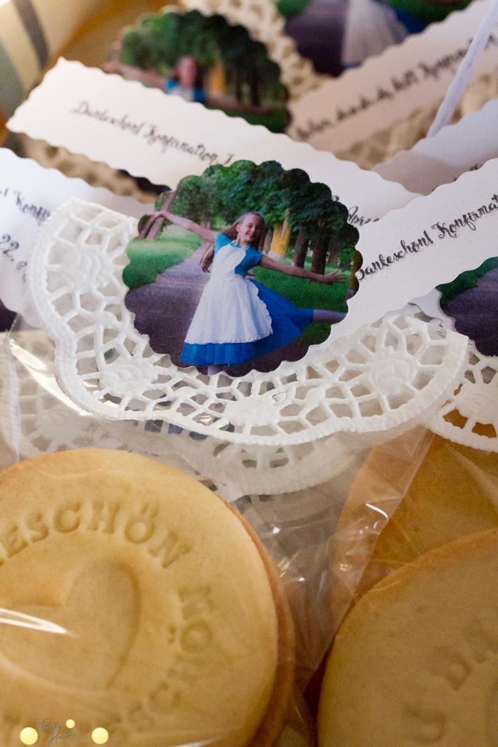 Dankeschön-Kekse als Give-Away zur Konfirmation und selbstgemachte Einladung