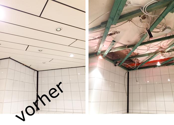 Barrenovierung: Davor eigentlich ganz hübsch aber mit defekten Einbauleuchten. Foto2 nach abmontierteren Deckenpaneelen: Kabelwirrwarr, schadhafte Unterkonstruktion, fehlende Dämmung.