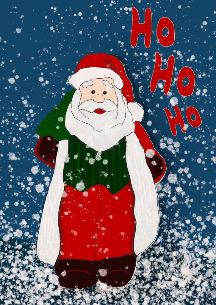 Weihnachtsmann Grußkarte Weihnachtskarte kostenloser Download Freebie